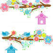 Cards with couples of birds sitting on branches and birdhouses — Stok Fotoğraf #24419017