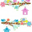 Cards with couples of birds sitting on branches and birdhouses - Foto de Stock