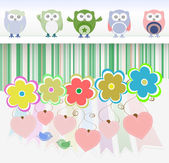Sweet owls, flowers, love hearts and cute birds — Stock Photo