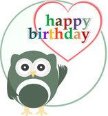 Zadowolony urodziny strony karty z ładny sowa — Zdjęcie stockowe