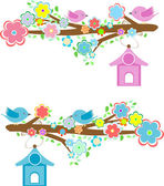 Cards with couples of birds sitting on branches and birdhouses — Stock Photo