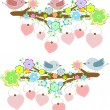 Cards with couples of birds sitting on branches with hanging hearts — Stock Photo #24429921