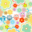 Background with flowers and cute owls — Stock Photo