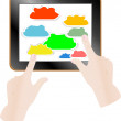 Cloud computing concept. Finger touching cloud on a touch screen — Stock Photo