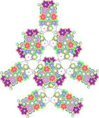 Abstract tree made from cute flowers — Stock Photo