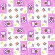 Cute owl card. Baby girl arrival announcement card. Seamless pink background pattern — Foto de Stock