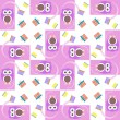 Stock Photo: Cute owl card. Baby girl arrival announcement card. Seamless pink background pattern