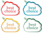 Abstract speech bubbles stickers set with best choice message — Stok fotoğraf