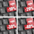 Shopping on-line, red key sale set on keyboard key — Stock fotografie