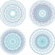 Stock Photo: Abstract blue painted picture set with circle pattern, mandala