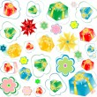 Stock Photo: Seamless background of gift boxes with different pattern