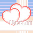 Stock Photo: I love you and hearts on a style vector background
