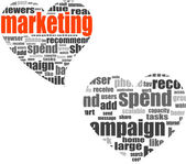 Marketing. Word collage set in heart shape. Illustration with different association terms — Stock Photo