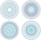 Abstract blue painted picture set with circle pattern, mandala — Stock Photo