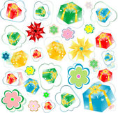 Seamless background of gift boxes with different pattern — Stockfoto