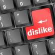 Dislike key on keyboard for anti social media concepts — Stock Photo