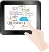 Cloud computing and touch pad concept — Stockfoto