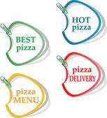 En iyi pizza, sıcak pizza, teslimat çıkartmaları kümesi — Stok fotoğraf