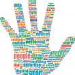 Hand symbol, which is composed of text keywords on social media themes. Isolated on white - Stock Photo