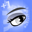 Woman eye on digital touch screen, 3d - Stock Photo