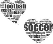 Football word cloud concept in heart shape — Stock Photo