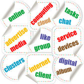 Abstract colorful illustration with various social and network words. Social networking theme — Stock Photo