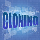 Business concept: words cloning is a marketing on digital screen — Stok fotoğraf