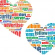 Stock Photo: Social media marketing concept in word tag cloud in heart