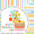Vector valentine day frame with sweet cupcake. vector - Foto Stock
