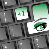 Protection concept: Enter button with Eye on computer keyboard, 3d — Stock Photo