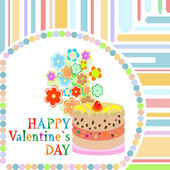 Vector valentine day frame with sweet cupcake. vector — Stok fotoğraf