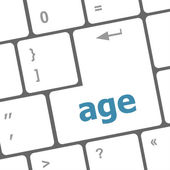 Age keyboard key button showing forever young concept — Stock Photo
