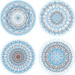 Ornamental round floral pattern. Set of four colorful ornament — Stock Photo