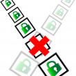 Red check box and green padlock set on check mark list — Stock Photo