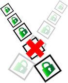 Red check box and green padlock set on check mark list — Stock Photo