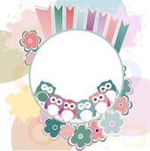 Seamless retro flowers and owl kids illustration background pattern — Stock Photo