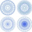 Abstract blue circle pattern, mandala set — Stock Photo
