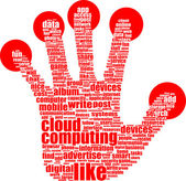 Like hand symbol with tag cloud of word — Stock Photo