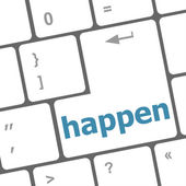 Happen word on computer pc keyboard key — Stock Photo
