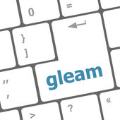 Gleam word on computer pc keyboard key — Stock Photo