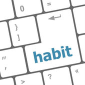 Habit word on computer pc keyboard key — Stok fotoğraf