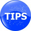 Tips blue icon button in stamp style — Stock Photo