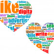 Social media marketing concept in word tag cloud in heart - Stock Photo