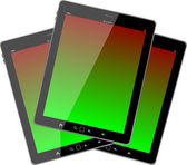 Photo-realistic illustration of different colored vertical tablet pc set — Stock Photo