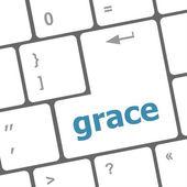 Grace word on computer pc keyboard key — Stock Photo