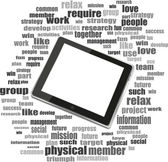 Digital tablet with mobile technology tag cloud concept on screen — Stock Photo