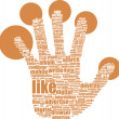 Stock Photo: Like hand symbol with tag cloud of word