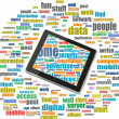Tablet pc in social media words, communication in the global computer networks — Stock Photo