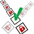 Green check box and red padlock set on check mark list - Stock Photo