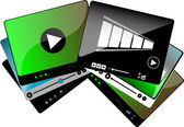 Video movie media player interface set isolated — Stock Photo